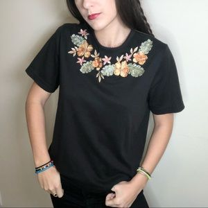 Vintage black shirt with flowers
